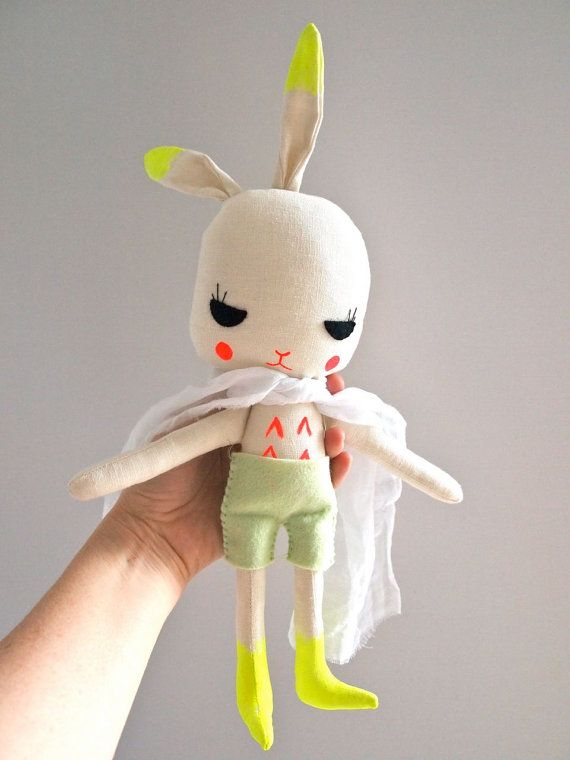 hand painted linen rabbit Easter bunny on Etsy, $84.05