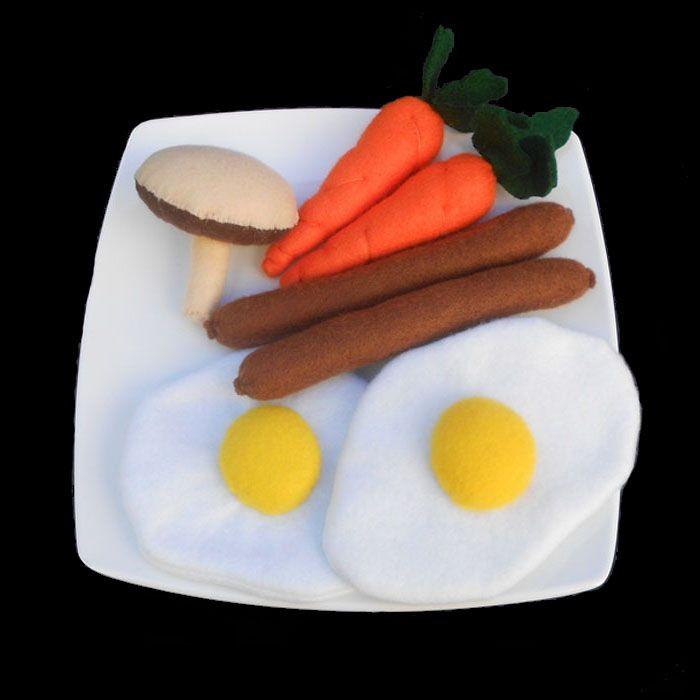 Felt food sausages and eggs breakfast