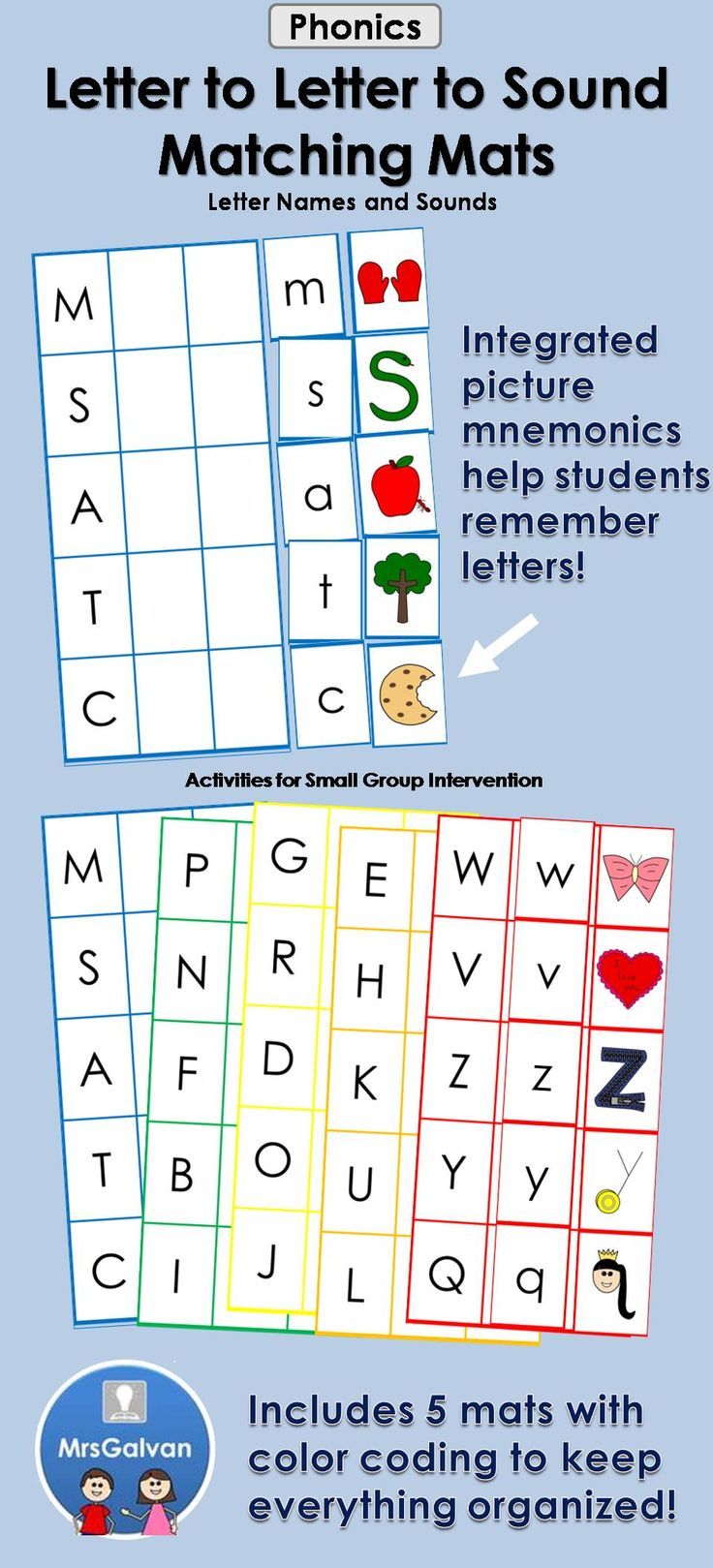 Alphabet Matching Mats for Letter Names and Beginning