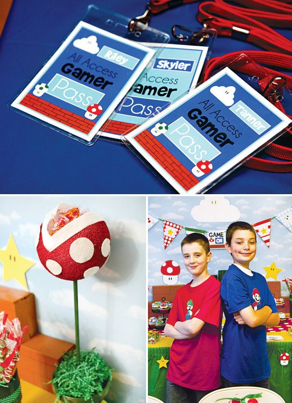 GAME ON: Super Mario Themed Birthday Party: Gamers all access passes