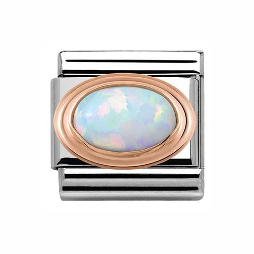 Nomination Stainless Steel and 9ct Rose Gold and White Opal Charm. Part of the Composable Classic range, this is the smaller of the Nomination charms, compatible with the Composable Classic Bracelets.