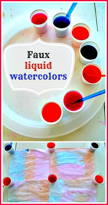 Easy art activity and make your own faux liquid water colors..#artactivities #artrecipes