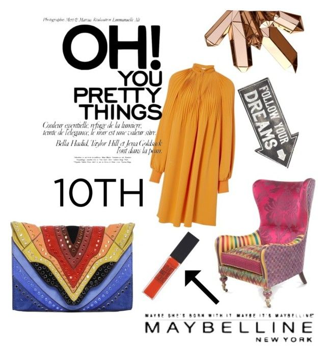 """Orange"" by veronika-grabanova on Polyvore featuring Elena Ghisellini, TIBI, Sass & Belle and Maybelline"