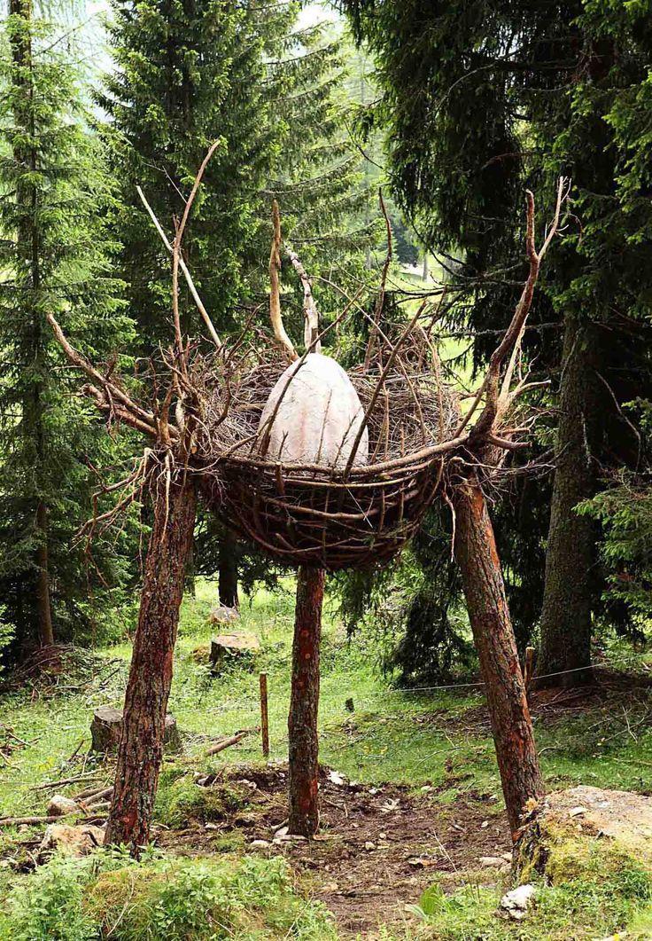 "Arte Sella is an international outdoor exhibition of contemporary art. The ArteNatura route Val di Sella, Borgo Valsugana (Tn). Work of Land Art ""Dragon Nest"" by Marco Nones, June 2011"