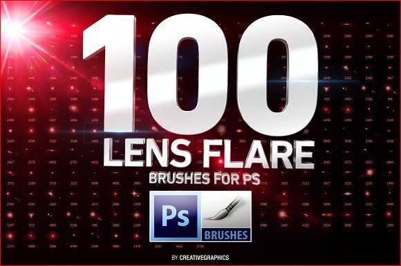 100 Lens Flare Brushes for Photoshop by Creative Graphics on @creativemarket