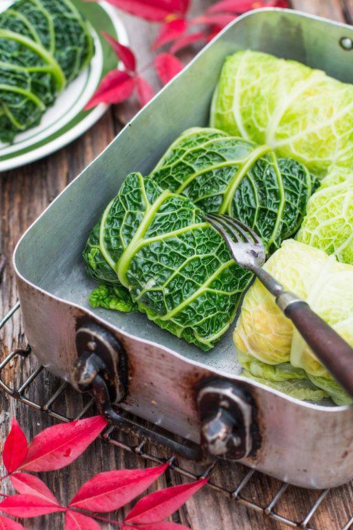Верцини - голубцы из савойской капустыГениальное сочетание мяса с овощами. Это блюдо можно запечь в духовке, а можно обжарить или потушить в сковороде в соусе, как голубцы.Савойская капуста – 8