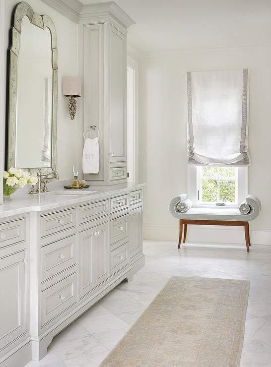 Vanity tower- Light Grey Bathroom Cabinets with Glass Knobs, Transitional, Bathroom