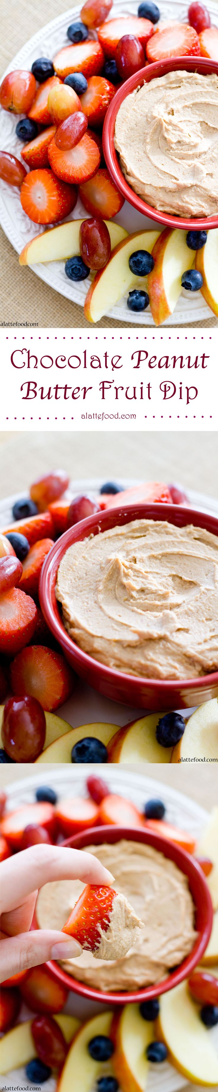 {Healthy and Gluten-Free} Chocolate Peanut Butter Fruit Dip: This 5 ingredient fruit dip can be whipped up in less than 5 minutes and is made with all natural ingredients, which makes this tasty dip super healthy too! Day 3 of the 14 Days of Love!