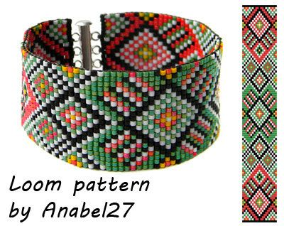 Loom bead pattern  Square stitch pattern   ethnic by Anabel27shop,