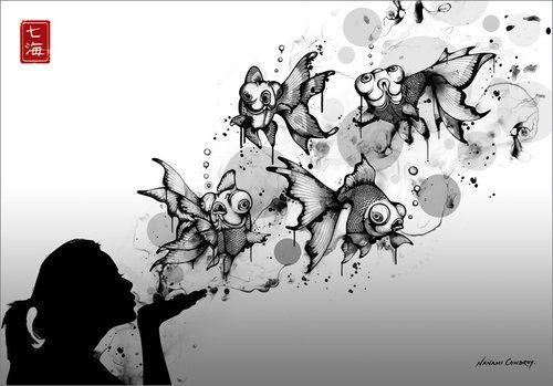 .Artists, Nanami Cowdroy, Inspiration, Blowing Fish, Nanamicowdroy, Illustration, Blowing Bubbles, Black, Blowfish