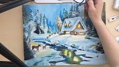 mini canvas painting christmas - YouTube