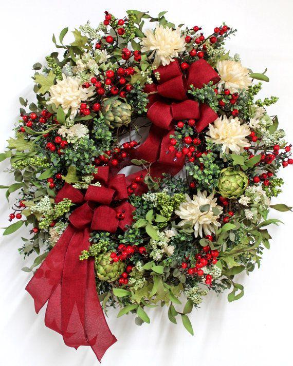 Summer Front Door Wreath, Beautiful Purple Roses, Hydrangeas, Daisies, Lavender