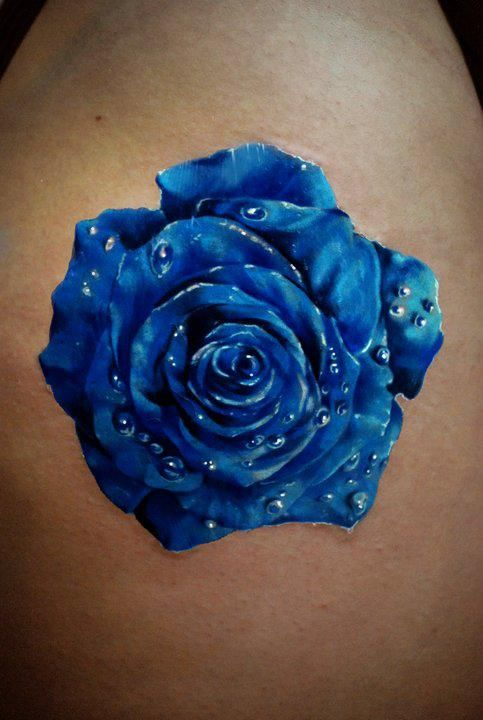 Blue rose tattoo. I want this rose to add to my tattoo garden with my other roses