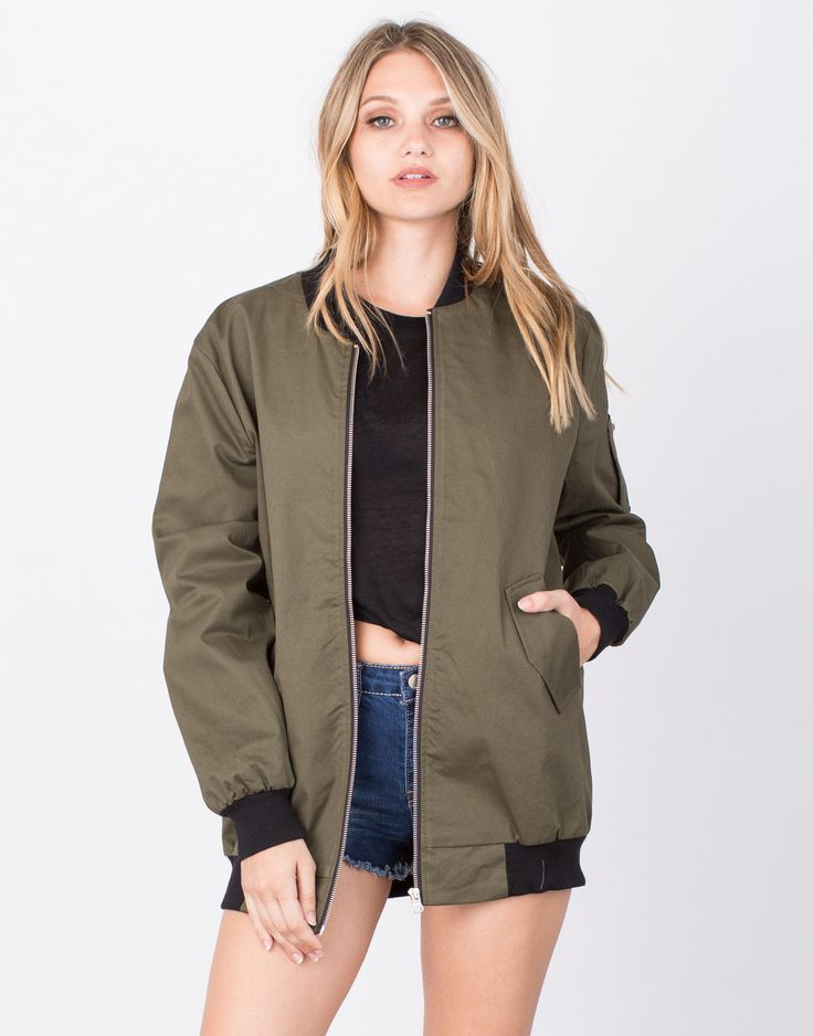 For the girls who love a good oversized jacket, you'll need this Oversized Bomber Jacket in your closet. Features contrast ribbed details at the collar, cuffs, and hem. This jacket has two front pocke