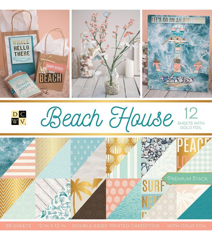 "Beach Theme Card Stock: DCWV 36 Pack 12""x12"" Premium Printed Cardstock Stack"