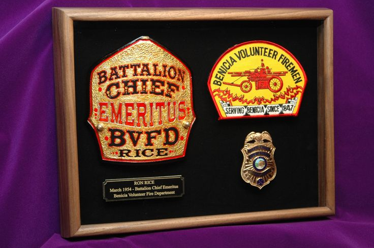 Representative of a firefighter's career, his helmet front, department patch, and badge make a nice display and its a very personal gift. Add a personalized engraved plate and have it all mounted and framed byShadowBoxUSA.com. See website for a free estimate.
