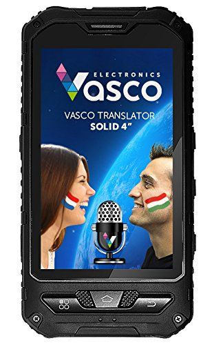"Vasco Translator Solid 4"": Waterproof Electronic Translator  Voice translator: English, Spanish, French, German, Italian, Polish, Russian, Arabic, Mandarin, Bulgarian, Czech, Danish, Dutch, Estonian, Finnish, Greek, Hebrew, Hungarian, Japanese, Latvian, Lithuanian, Norwegian, Portuguese, Romanian, Slovak, Slovenian, Swedish, Turkish, Ukrainian  Possibility of holding a conversation between 2 people speaking 2 different languages. It's easy and intuitive.  Recognizes what you're saying,..."