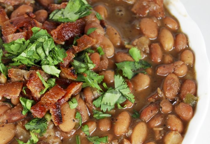 Drunken Mexican Beans with Cilantro and Bacon  #Beans #Charro_Beans #Bayless