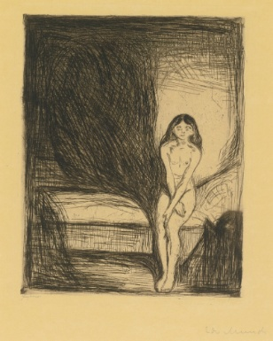Edvard Munch  1863 - 1944  PUBERTY (W. 186)  Estimate: 50,000 - 70,000 USD  Etching, 1902, signed in pencil, printed by Felsing and with his pencil signature, on buff japon nacré, framed  187 by 150 mm 7 3/8 by 6 in  sheet 429 by 310 mm 16 7/8 by 12 1/4 in