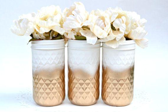 Painted mason Jars Mason Jars Bulk Wedding by PaintedPaintbrush