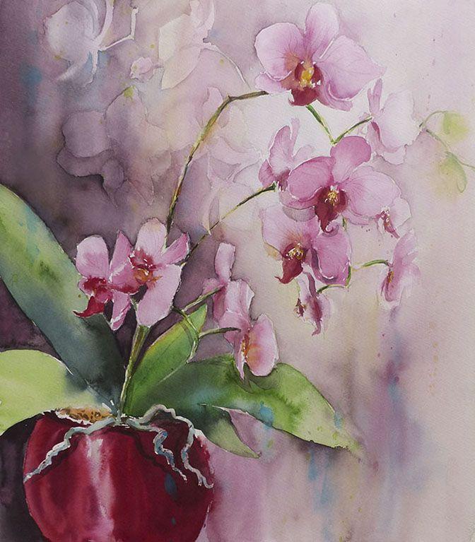 Orchidee 50 X 60 En 2020 Art Floral Peinture Fleurs Et