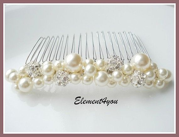 Bridal Hair Comb Wedding Accessories Headpieces Rhinestone Pearl White Ivory Our Day