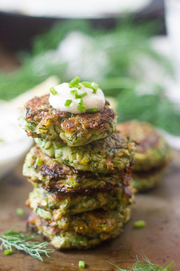 Vegan Zucchini Fritters with Garlic & Dill