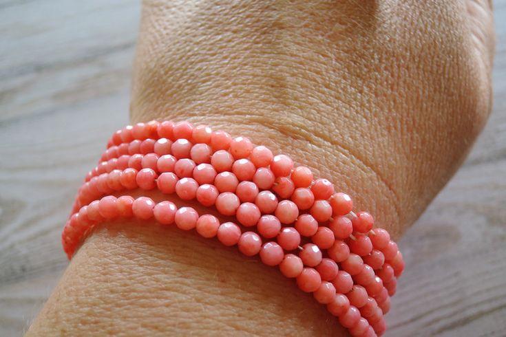 Lavakralen & -stenen - Roze Koraal Facet Rond Ronde Kralen - Een uniek product van francois2017 op DaWanda