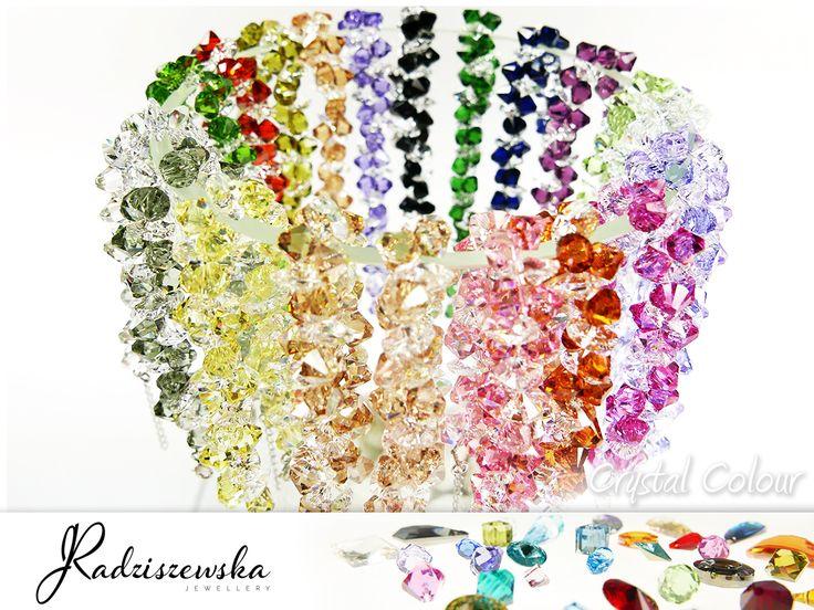 Kolorowe bransoletki z kryształami Swarovskiego :)