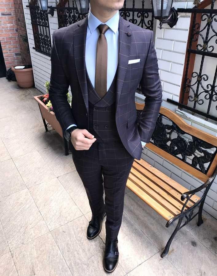 b28f42ec03422 Terziademaltun - İtalyan stil ceket yelek pantolon erkek kahverenk takım  elbise T2033 (1)