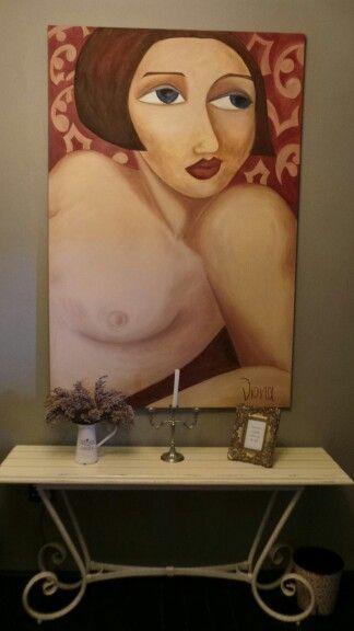 Bold Viona painting in dressing room at Zau Spa