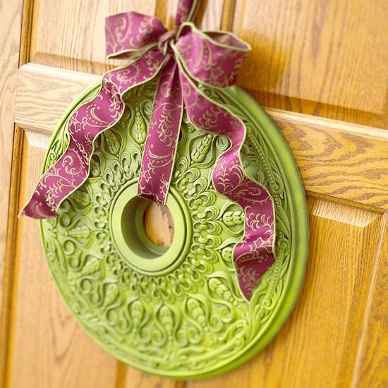 Christmas wreath: Christmas Wreaths, Paintings Ceilings, Medallions Wreaths, Ceilings Medallions, Ribbons, Ceiling Medallions, Wreaths Ideas, Front Doors Wreaths, Holidays Wreaths