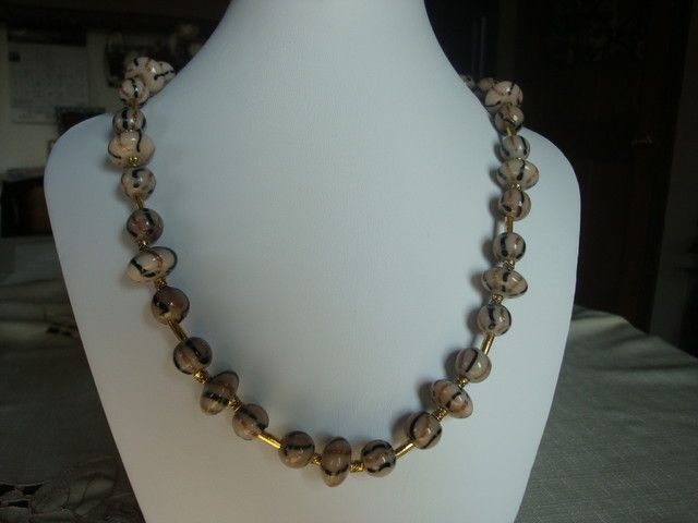 GLASS AND GOLD PLATE SPACERS NECKLACE fashion jewellery