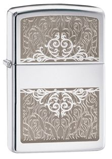 This high polish chrome windproof lighter has an elegant look and feel. With an engraved floral design and an intertwining heart design, this lighter makes a great gift. Comes packaged in an environmentally friendly gift box. For optimal performance, use with Zippo premium lighter fluid.