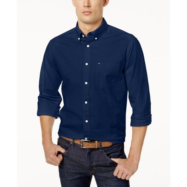 Tommy Hilfiger Men's Custom Fit New England Solid Oxford Shirt (€30) ❤ liked on Polyvore featuring men's fashion, men's clothing, men's shirts, men's dress shirts, navy blazer, mens navy blue shirt, tommy hilfiger mens shirts, old navy mens shirts, mens dress shirts and mens oxford dress shirts