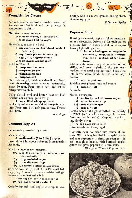Vintage cookbook pages (which come by way of thepeachmartini on Flickr) that include a great assortment of fun, completely child-friendly Halloween recipes from the 1950s.