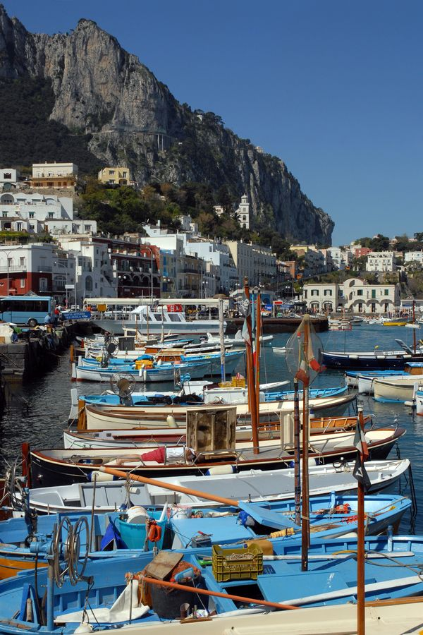 Fishing boats in the harbour, Isle of Capri, Italy.