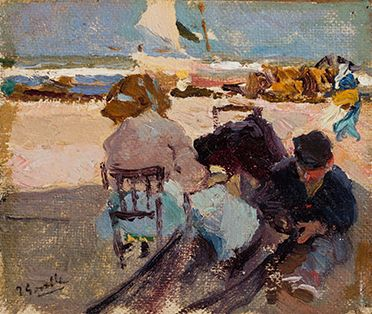 Joaquín SOROLLA y BASTIDA (Spanish, 1863-1923), Valencia Beach, 1904 or 1905, Oil on canvas laid on cardboard, Meadows Museum, SMU, Dallas. Given in honor of Dr. P. Gregory Warden by Dr. and Mrs. Mark L. Lemmon, MM.2012.02 Photo by Dimitris Skliris