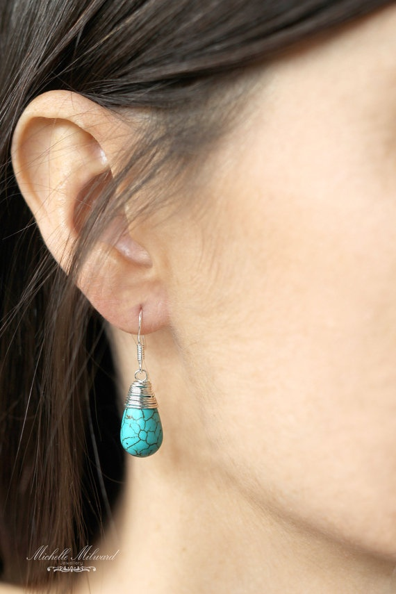 Wire+Wrapped+Turquoise+Howlite+Waterdrop+by+MichelleMilward,+$25.50