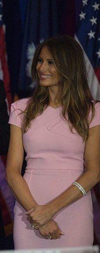 Melania Trump in pink dress (South Carolina Republican primaries)