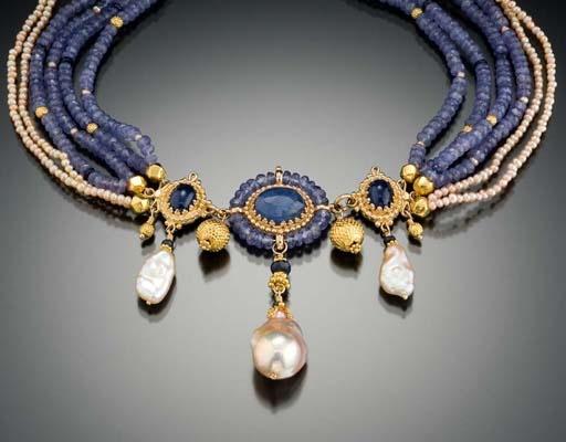 Gallery of Jewels; Vanessa Mellet necklace: shell, blue topaz, peridot, aquamarine, apatite and sprectolite