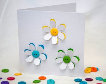 Button Flowers Card - Greeting Card - Paper Cut Flowers - Blank Card