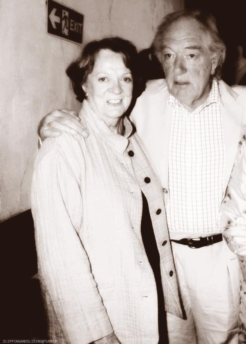 Maggie Smith (Professor McGonagall) and Michael Gambon (Dumbledore)