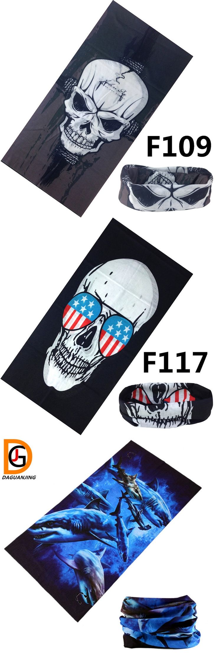 Skull Bandana Bike Motorcycle Helmet Neck Face Mask Ring Scarf Paintball  Sport Headband No.F121