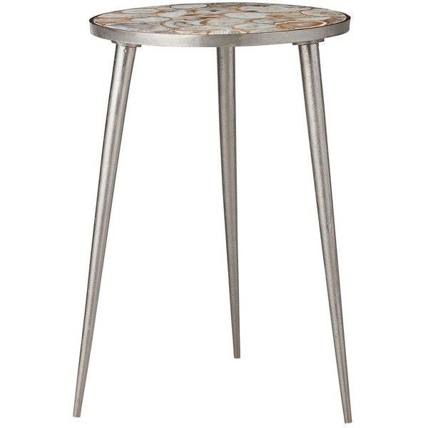 Lene Bjerre Rosetta Side Table Aluminium Linen Silver Sand Agate Stone ($510) ❤ liked on Polyvore featuring home, furniture, tables, accent tables, silver, aluminum table, pedestal table, agate side table, agate table and pedestal side table