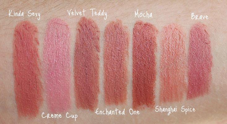 MAC Nude Lipstick, MAC Kinda Sexy, MAC Creme Cup, MAC Velvet Teddy, MAC Enchanted One, MAC Mocha, MAC Shanghai Spice, MAC Brave