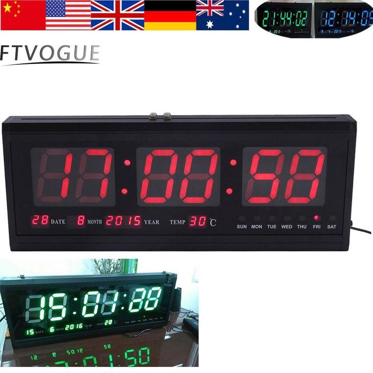 LED Wall Clock Large Digital Led Wall Clock Alarm Calendar Table Desk Wall Clock 48cm Hot Blue/Red/Green