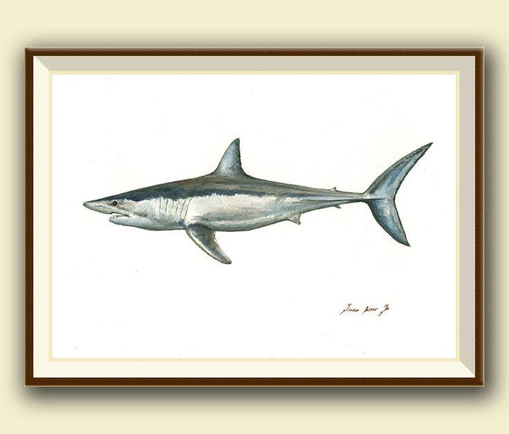 PRINT- Shortfin Mako shark print -  shark painting art print - shark art nursery ocean sport fishing decor - Art Print by Juan Bosco by SanMartinArtsCrafts on Etsy
