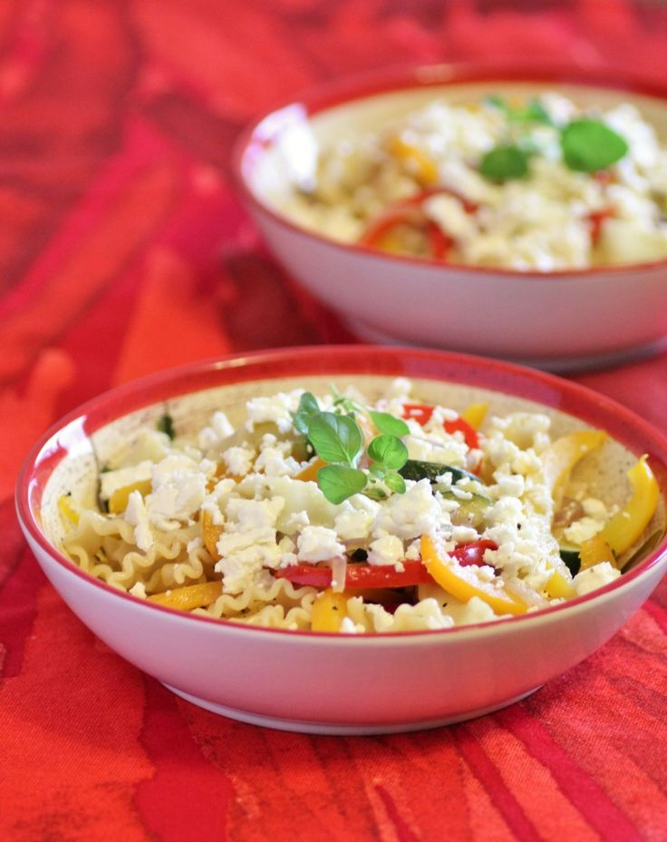 Spring Pasta with Peppers and Feta