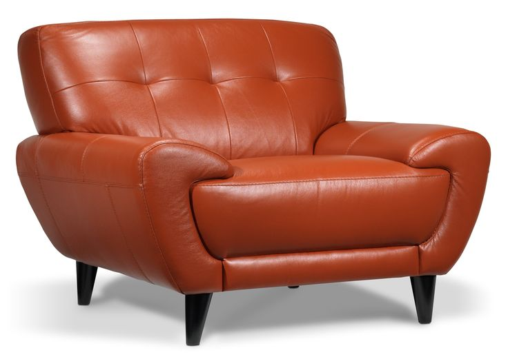 Love the leather colour, love the shape! Boulevard II Leather Chair - Leon's